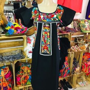 Plus size Mexican Dress Maxi Embroidered by Hand